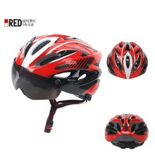 Q534 Free shipping Outdoor cycling cool helmet mountain bike helmet with glasses goggles integrated molded helmet