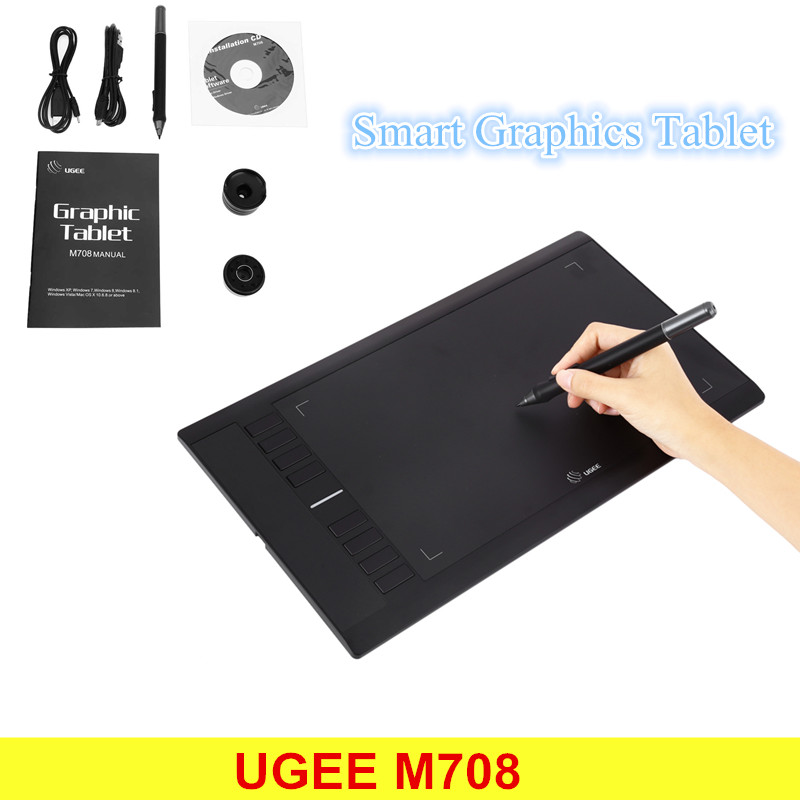 UGEE M708 Ultra-thin Draw Digital Graphics Drawing Painting Tablet Pad 10 x 6 inch Active Area 2048 Level Pressure Sensitivity ugee m708 10x6 smart graphics digital drawing tablet board signature pad drawing xp pen for writing painting pro designer