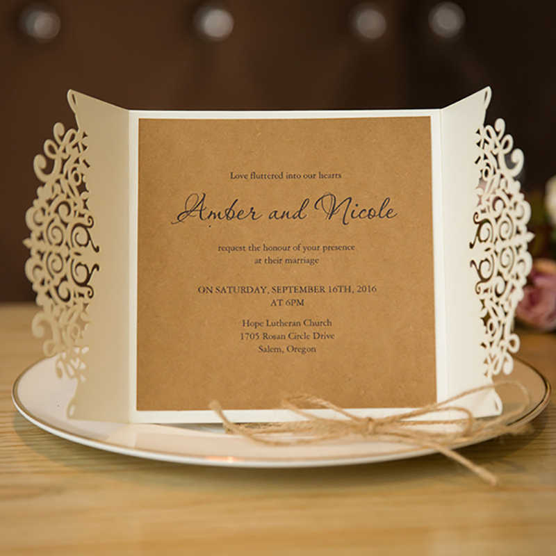 50 Set Hemp rope Ribbons White Fold Invitaitons Cards Laser Cut Blank Inside Brown kraft paper Paper Brithday Party Day Postcard