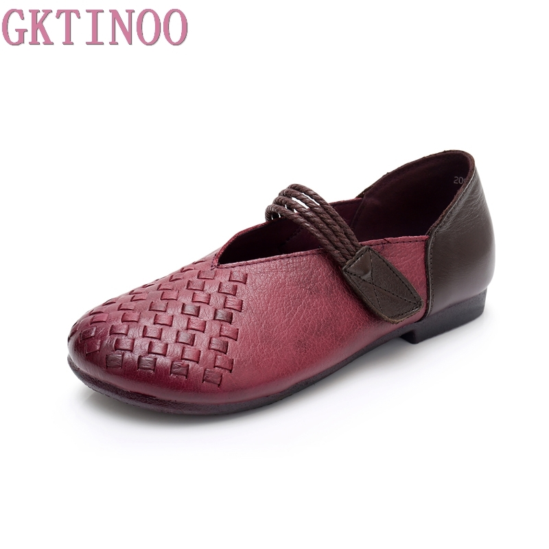 GKTINOO Genuine Leather Shoes Fashion Loafers Women Shoes Handmade Soft Comfortable Flat Solid Casual Shoes Women Flats gktinoo genuine leather shoes women flats 2018 hollow casual shoes handmade comfortable soft bottom flat shoes moccasins