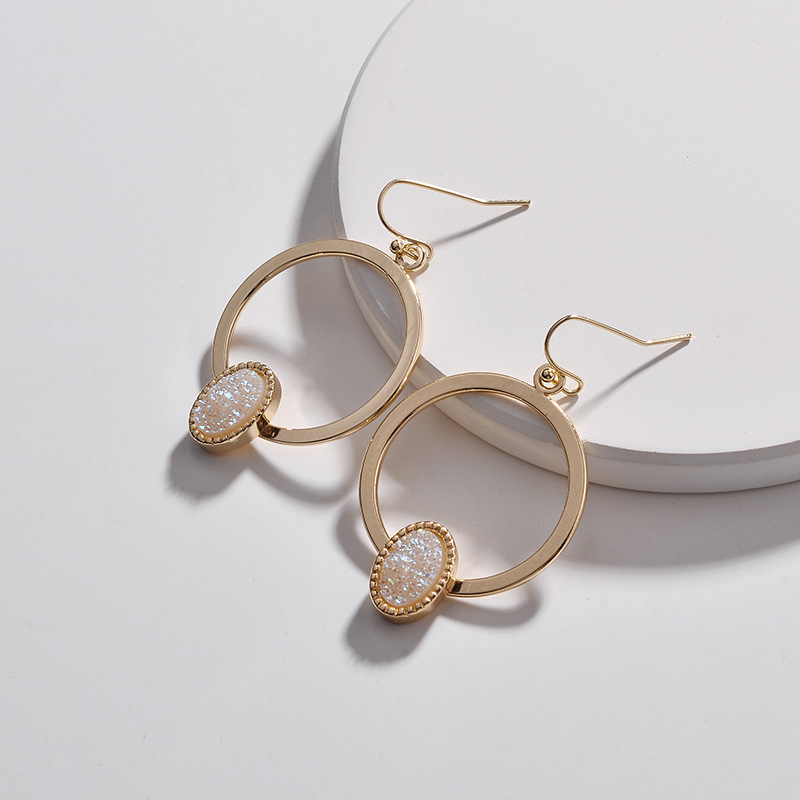 Faux Copper Circle Oval Druzy Quartz Drop Earrings 1