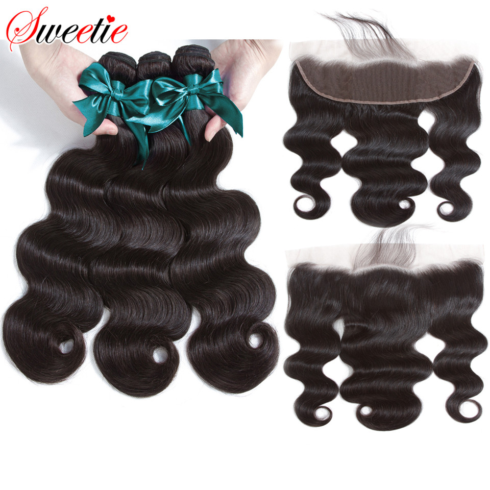 Sweetie Brazilian Body Wave 13X4 Ear To Ear Lace Frontal Closure With Bundles Non Remy Human