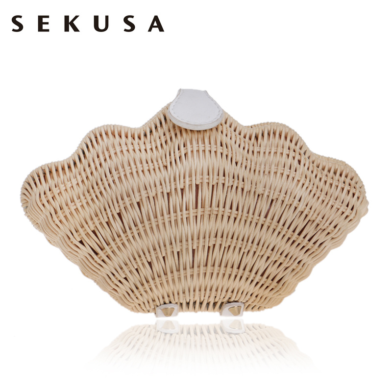 SEKUSA Bamboo Hollow Fashion Evening Bag Shell Design Knitted Chain Shoulder Handbags Gold/Red Lip Evening Clutch Wedding Bag fashion womens design chain detail cross body bag ladies shoulder bag clutch bag bolsa franja luxury evening bag lb148