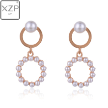 XZP Summer Cute Style Pearl Earrings Double Round Charm Long Drop For Women Fashion Party Wedding Jewelry Wholesale