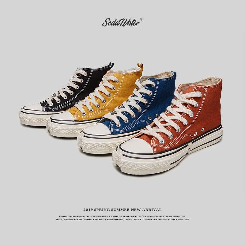 Ayakk.'ten Erkek Vulkanize Ayakkabı'de SODA SU ERKEKLER 2019 Yeni Harajuku Moda Kesme Yüksek top erkek ayakkabısı Düz Renk Rahat kanvas sneaker Erkekler Streetwear 557SH2019'da  Grup 1