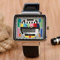 New Cool TV Design Wrist Watch  Men Television  PU Leather Band Rectangle Unique Watches Mens Women Clock Hours Q0807