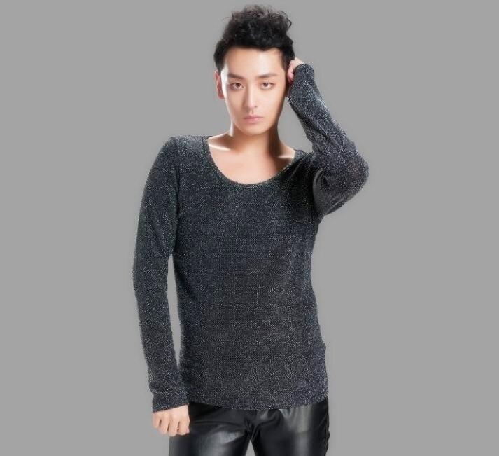 봄 눈부신 반짝 이는 성격 플러스 크기 긴 소매 티셔츠 복장 남자 의류 패션 2016 유명 브랜드 T 셔츠 남성