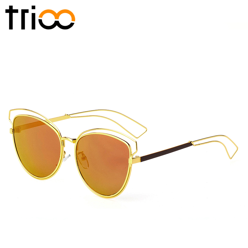 Eyeglass Frame Extenders : TRIOO 2017 New Flat Mirror Sun Glasses For Women Gold ...
