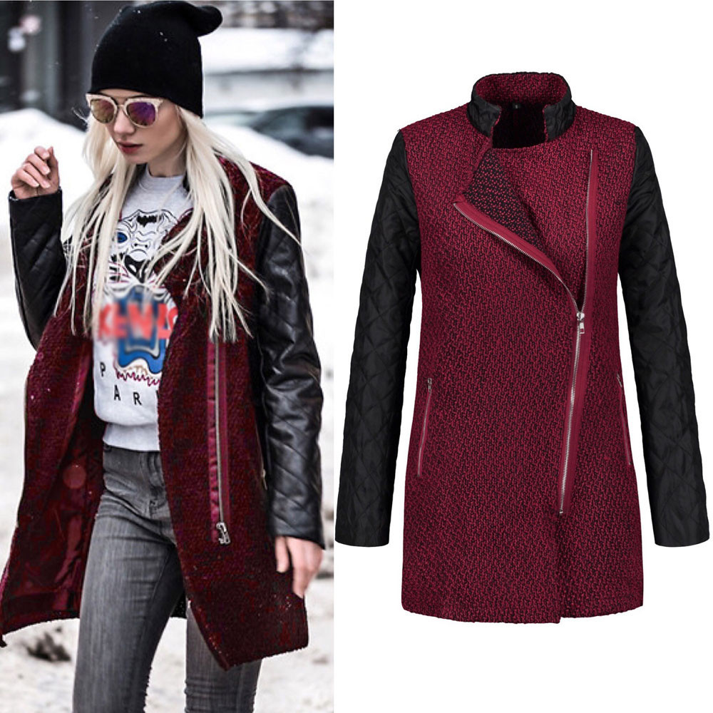 Telotuny women clothing European and American style Leather Splice female jacket female coat de winter 2018
