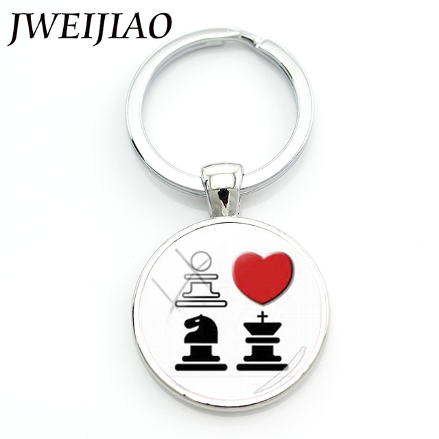 JWEIJIAO Chess Lovers Keychains & Key Buckle Marriage Wedding Custom Keychain Knight Horse You Touch Me Bride Groom Gift E597