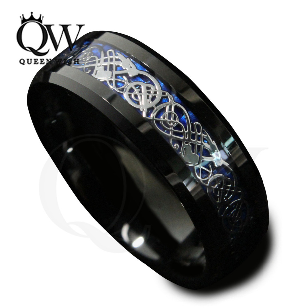 Queenwish-black-tungsten-blue-celtic-dragon-ring-knot-rings-for-women