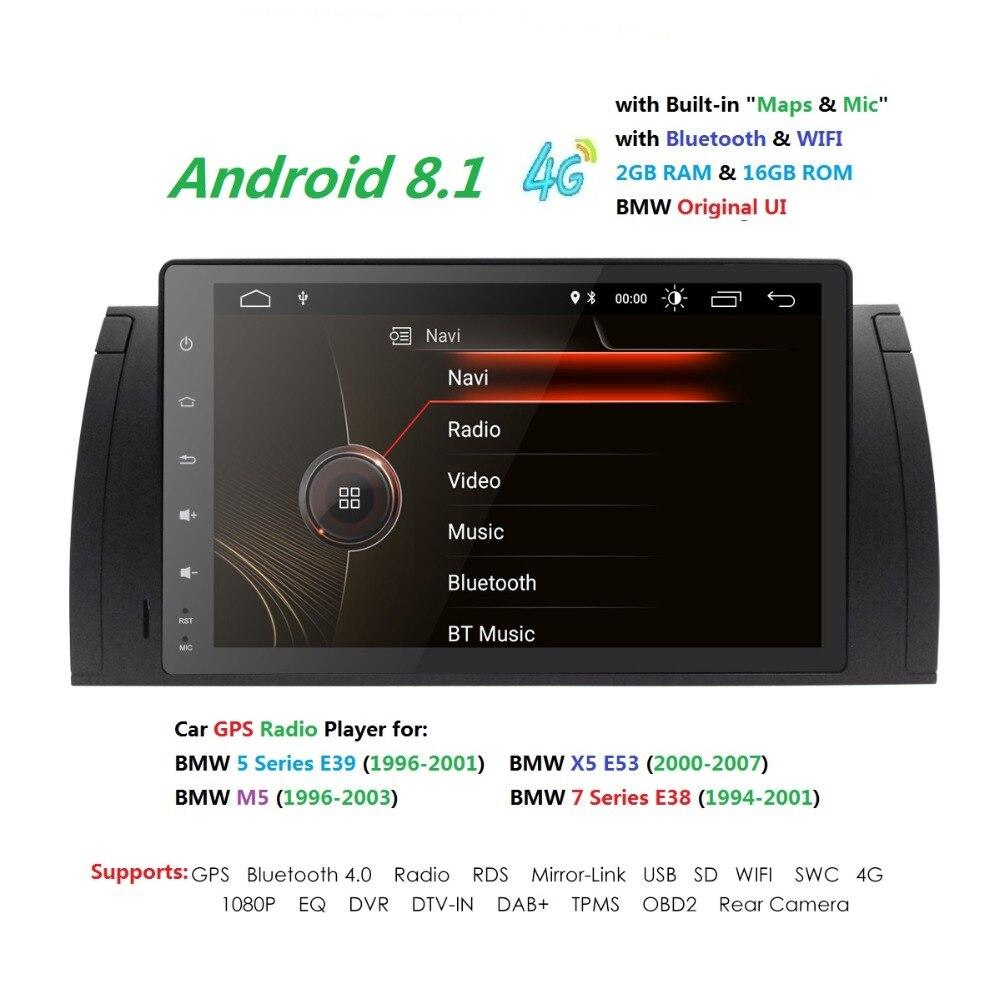 9 pouces 1024x600 HD Écran Tactile 1 din Android 8.1 Voiture Multimédia Radio Stéréo pour BMW E39 E53 x5 Wifi 4G Bluetooth DVR RDS USB