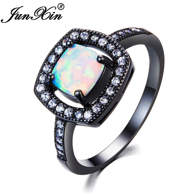 junxin mystic square white fire opal wedding jewelry black gold filled round white birthstone zircon rings - Opal Wedding Ring