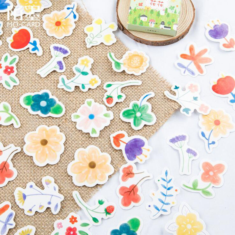 46 / Box Chun Tian Huahua Diary Decorative Stickers DIY Office Stationery Album Thin Collage Children Label Boxed Stickers