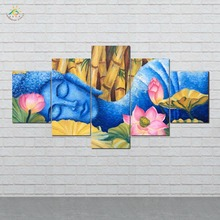 Sleeping Blue Buddha Wall Art HD Prints Canvas Art Painting Modular Picture And Vintag Poster Canvas Painting Home Decor 5 PIECE canvas painting poster colourful leaf trees 4 piece painting wall art modular pictures for home decor wall art picture painting