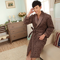 Men's robe flannel three layer thick cotton winter bathrobes casual thickening pijamas hombre plus size vestido de festa longo