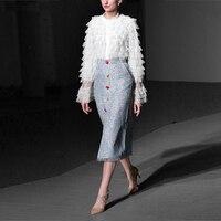 Wreeima 2019 подиумная элегантная юбка костюм Европа Америка Стиль Женская кружевная блузка и Империя средней длины юбка высокого качества комп