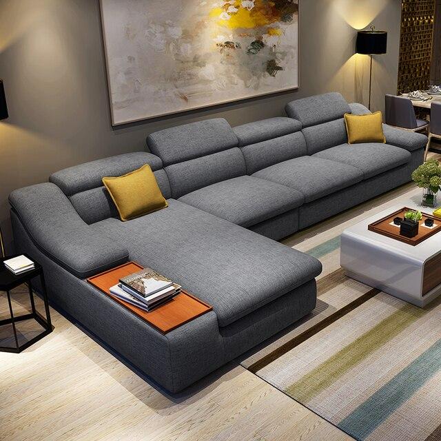 Mobili soggiorno moderno a forma di L angolo tessuto divano ...