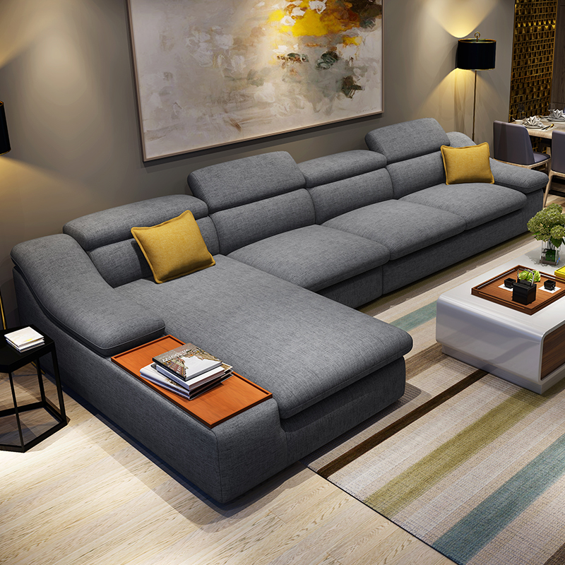 Living room furniture modern l shaped fabric corner for Sectional couch living room layout