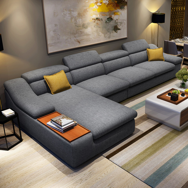 Beau Living Room Furniture Modern L Shaped Fabric Corner Sectional Sofa Set  Design Couches For Living Room