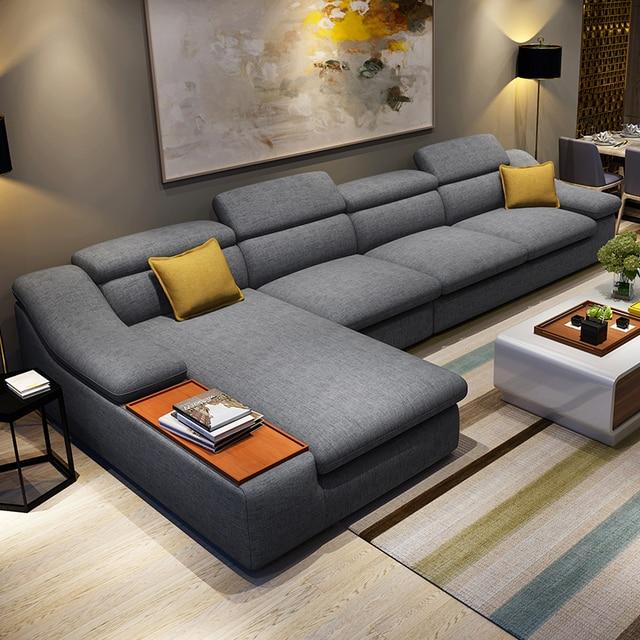 living room furniture modern L shaped fabric corner ...