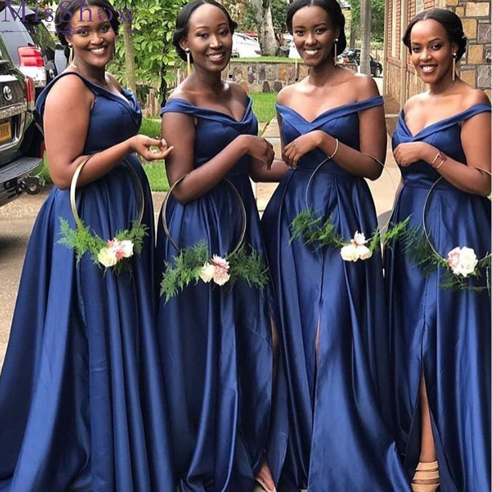 Sexy Off Shoulder   Bridesmaid     Dresses   2019 Wholesale Price blue Satin African Women Long A Line Maid Of Honor   Dress   Split   Dresses