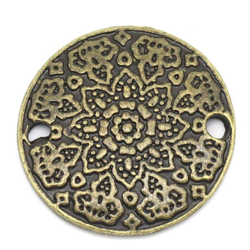 Zinc Metal Alloy Connectors Findings Round Antique Bronze Flower Pattern Color Plated 19mm( 6/8