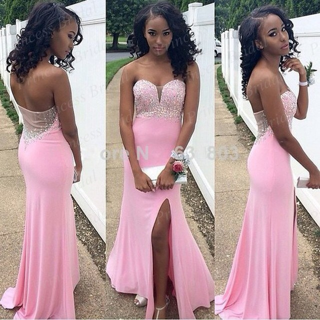5d7bc262fdf Free Shipping Grecian Style Mermaid Sweetheart Neckline Open Leg Floor  Length Long Vintage Pink Prom Dresses With Beadings MF164