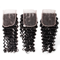 Bling Hair Remy Brazilian Deep Windy Lace Closure Natural Color 10 To 22 Raw Hair Closure