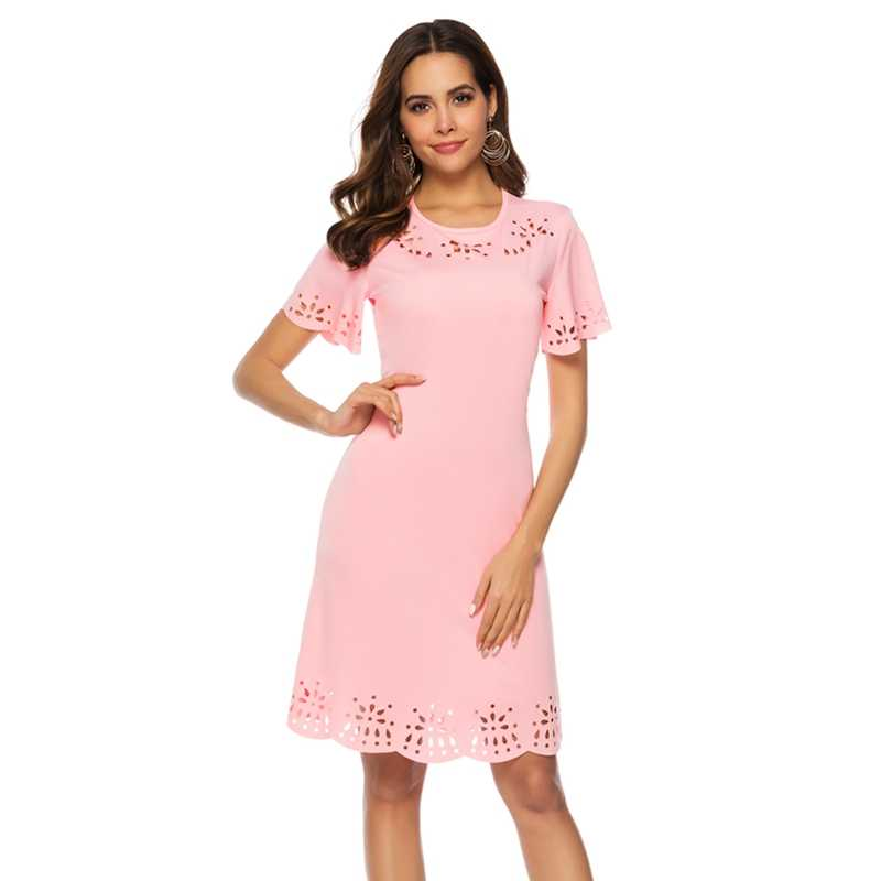 Laamei Slim  Casual  Sleeve Women Dress O-Neck Solid Office Lady Party Female Dress Pink Hollow Out Dress Sexy Vestido