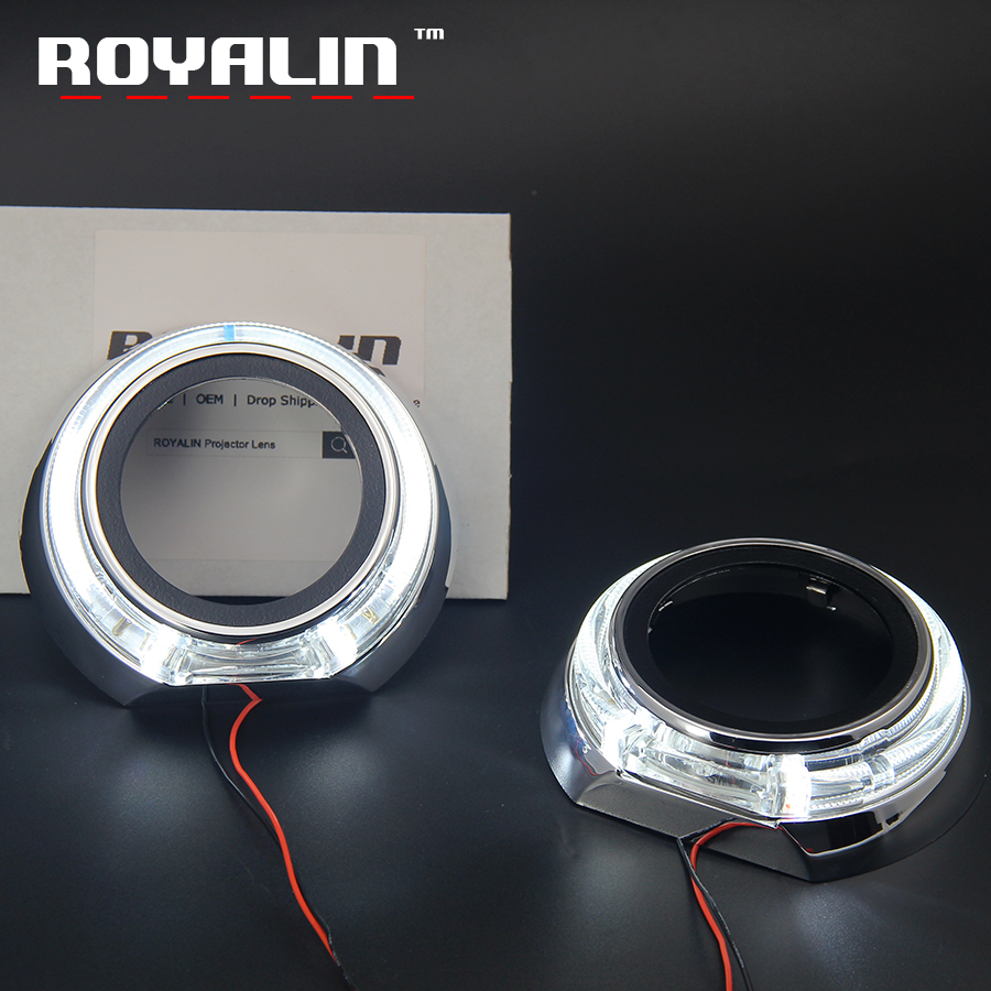 ROYALIN LED Angel Eyes Halo Kit DRL for Iris Shrouds 3.0'' Daytime Running Light Car Styling Projector Headlight Lens Masks possbay 64mm 76mm 89mm led drl daytime running light cob projector fog lens angel eyes car styling exterior headlight