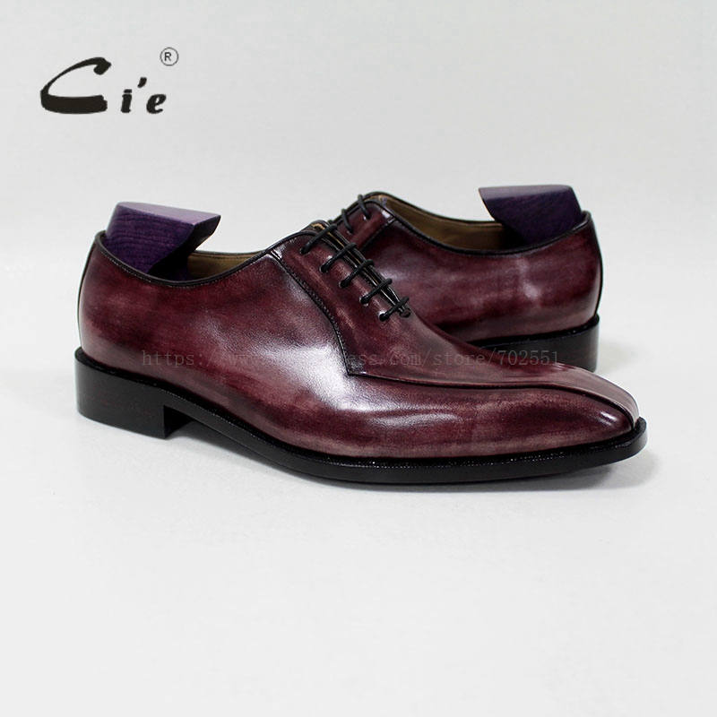 cie Square Plain Toe Oxford 100%Genuine Calf Leather Blake/Mackay Outsole Breathable Bespoke Leather Men Flat Handmade OX-11 cie square plain toe black wine handmade pure genuine calf leather outsole breathable men s dress oxford bespoke men shoe ox407