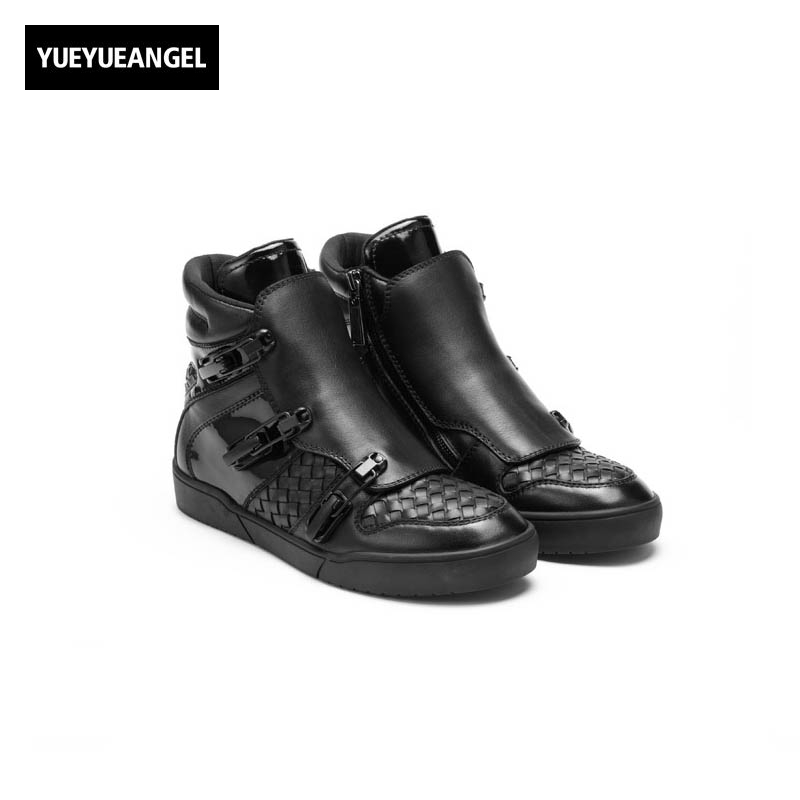 England Style Punk Genuine Leathe Cow Men Breathable Zipper New Fashion Winter Male Casual Shoes Hidden Height Buckle Strap 2017 england style men genuine leather cow new fashion lace up breathable casual shoes male vintage match color black coffee