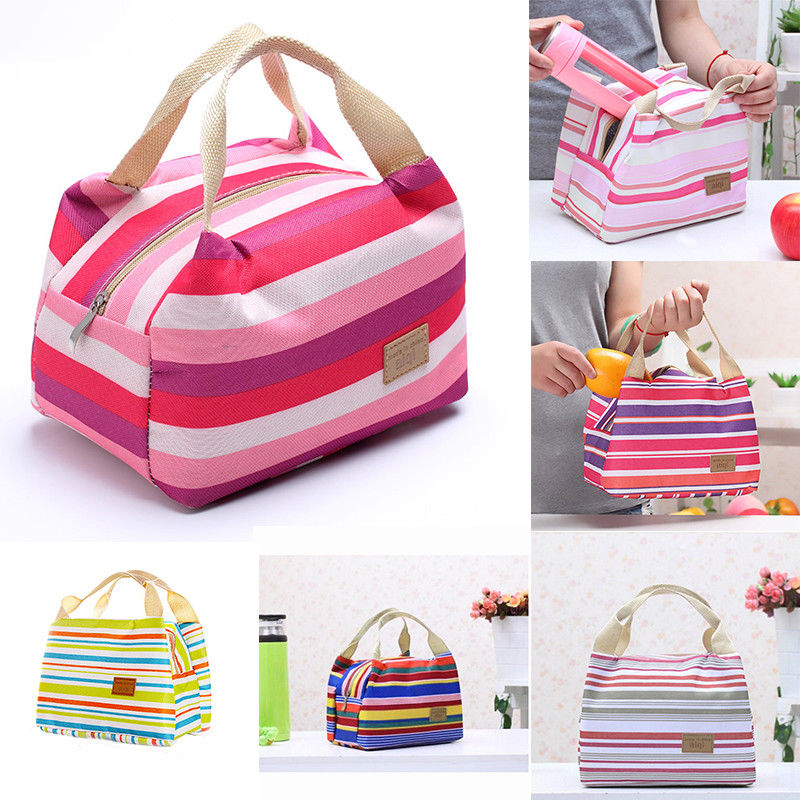 Fashion Insulated Canvas Portable Lunch Bag Thermal Food Picnic Box Carry Tote Storage Bag Women Kids Men
