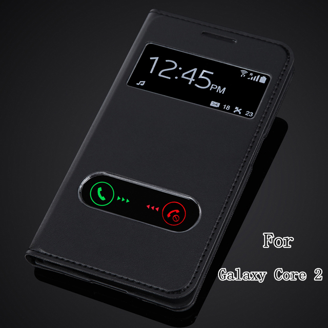 Back Battery Housing Cover For Samsung Galaxy Core 2 II Dual SIM G355H SM-G355H Leather View Window Flip Case