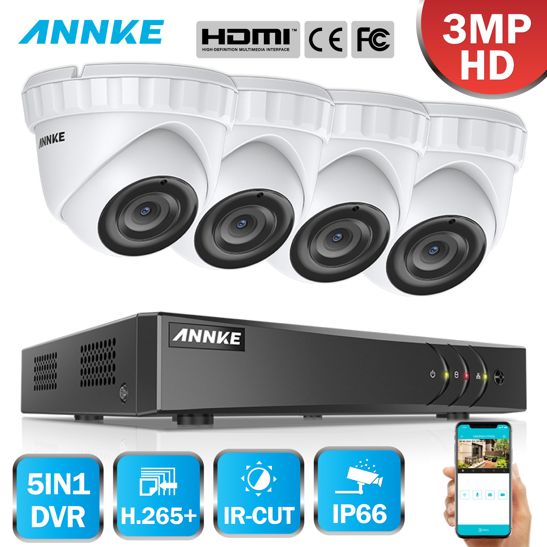 ANNKE 4CH 3MP 5in1 CCTV DVR HDMI Hybrid 4PCS 3MP 1920 1536 Smart IR Cut Dome