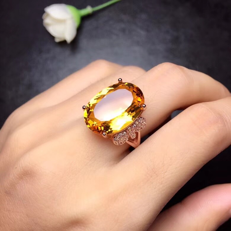 Natural citrine ring, 10 carat gems, authentic color, 925 silver, exquisite craftsmanship