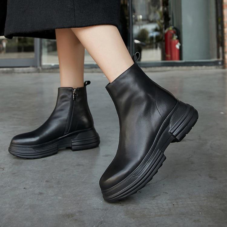 72b813f8 Planos Nueva Genuino Cuero {zorssar} Zapatos Invierno Moda Mujeres Tobillo  Botas Plataforma Beige Para ...
