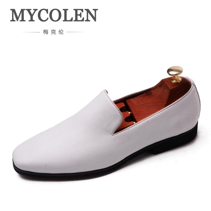 MYCOLEN New Arrival Fashion Business Shoes Men Real Leather Casual Shoes Male Brand Solid Black White Herenschoenen Loafers mycolen casual shoes men genuine leather shoes soft comfortable male footwear men s shoes brand black loafers mocassin homme