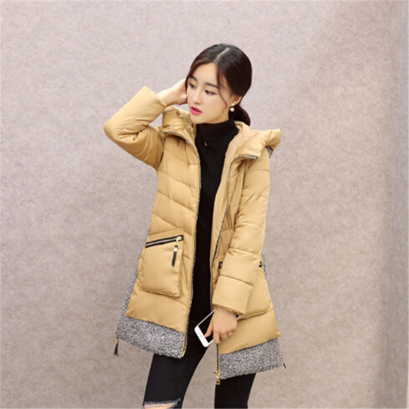 Women Winter Coat Warm Long Section Thick Down Cotton Padded Jacket Slim Woolen Patchwork Women Parka A-line Down Jacket TT232 winter women down cotton coat long section thick warm cotton jacket solid color wild pockets zipper casual jacket loose parka
