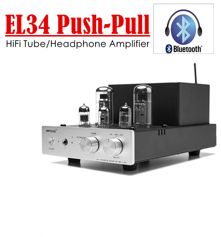 2017 New Nobsound Class AB Push-Pull EL34 Vacuum Tube Amplifier Bluetooth 4.0 Stereo Headphone Amp