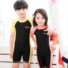 YKK Zipper One Piece Swimwear Girl Children Short Sleeve Swimsuit Sun protection Beach Wear Bodysuit Boys