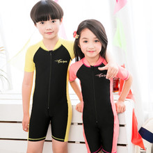 YKK Zipper One Piece Swimwear Girl Children Short Sleeve Swimsuit Sun-protection Beach Wear Bodysuit Boys Swimsuits Suifing Wear