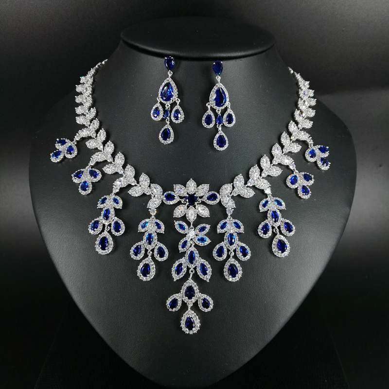 2019 New fashion Luxury blue leaves CZ zircon necklace earring wedding bride banquet dressing dinner jewelry set,free shipping2019 New fashion Luxury blue leaves CZ zircon necklace earring wedding bride banquet dressing dinner jewelry set,free shipping