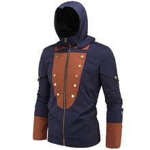 2017 Vintage Jacket Casual Mens Trench Coat Zipper Assassin Coat Hooded Overcoat Outwear Creed Stylish Cool Men Hot Clothing