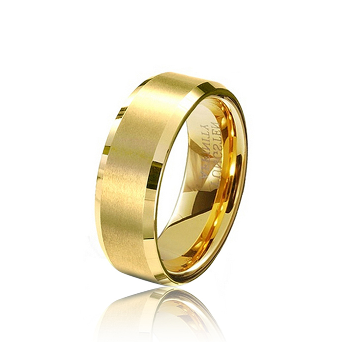Wholesale 8MM Male Gold Color Tungsten Carbide Rings Mens Wedding Band Bulk Gold Rings Size 4