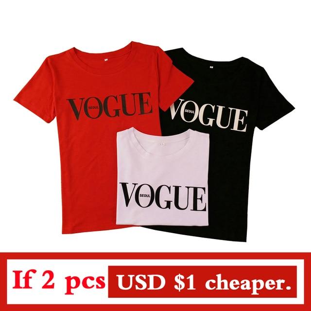 Women Summer VOGUE Short Sleeve T-Shirt High Cotton Fashion Red Letter Print Casual Knitwear 3