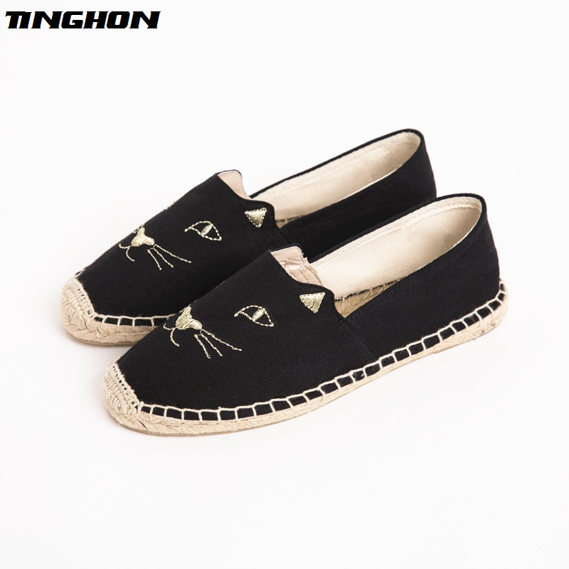 Fashion Ethnic Casual Espadrilles Black cat Flat New Women Spring Printed Embroider Slip on Fishermen Hemp Rope Shoes kiind of new blue women s xl geometric printed sheer cropped blouse $49 016