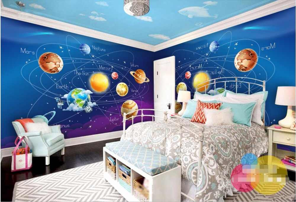 Custom Mural 3d Wallpaper Cartoon Planet In The Solar System Home Decor Room Painting 3d Wall Murals Wallpaper For Wall 3 D
