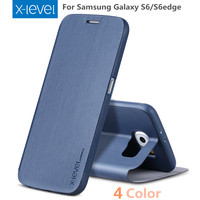 X Level Flip Phone Case For Samsung Galaxy S6 Edge S6 Case Ultrial Thin PU Leather
